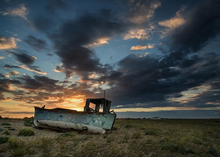 Landscape Greeting Card featuring the photograph Abandoned Fishing Boat Sunset Landscape Digital Painting by Matthew Gibson