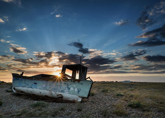 Landscape Greeting Card featuring the photograph Abandoned Fishing Sunset Digital Painting by Matthew Gibson