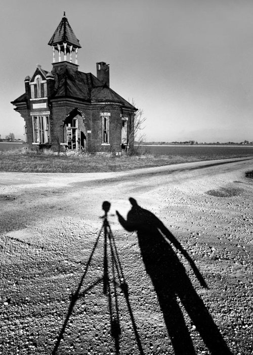 Self Portrait Greeting Card featuring the photograph Abandoned School House And My Shadow Circa 1985 by John Hanou