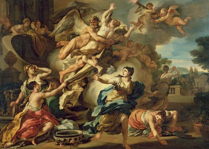 Abduction Of Orithyia (oil On Canvas) Abducted By Boreas Greeting Card featuring the painting Abduction Of Orithyia by Francesco Solimen