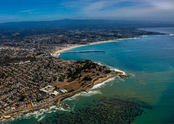 Aerial Greeting Card featuring the photograph Above Santa Cruz California Looking East by Randy Straka