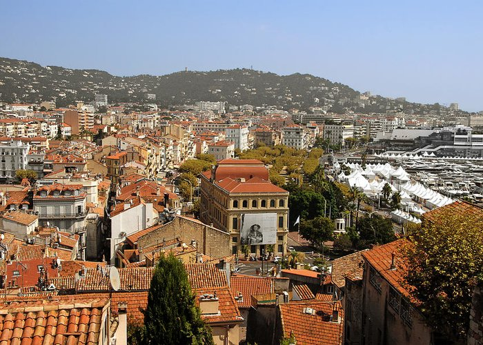 French Greeting Card featuring the photograph Above The Roofs Of Cannes by Christine Till