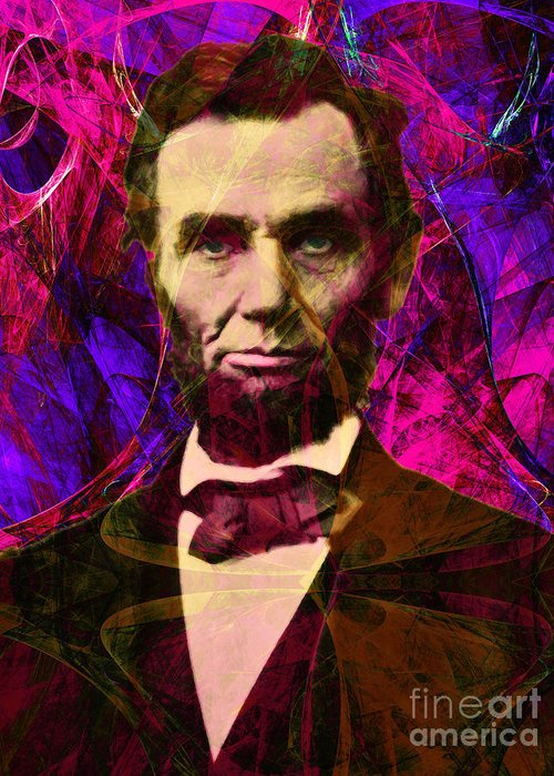 Celebrity Greeting Card featuring the photograph Abraham Lincoln 2014020502m68 by Wingsdomain Art and Photography