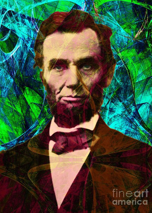 Celebrity Greeting Card featuring the photograph Abraham Lincoln 2014020502p145 by Wingsdomain Art and Photography