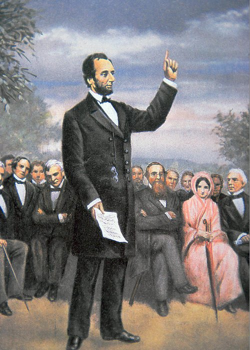 16th President Of The United States Greeting Card featuring the painting Abraham Lincoln Delivering The Gettysburg Address by American School