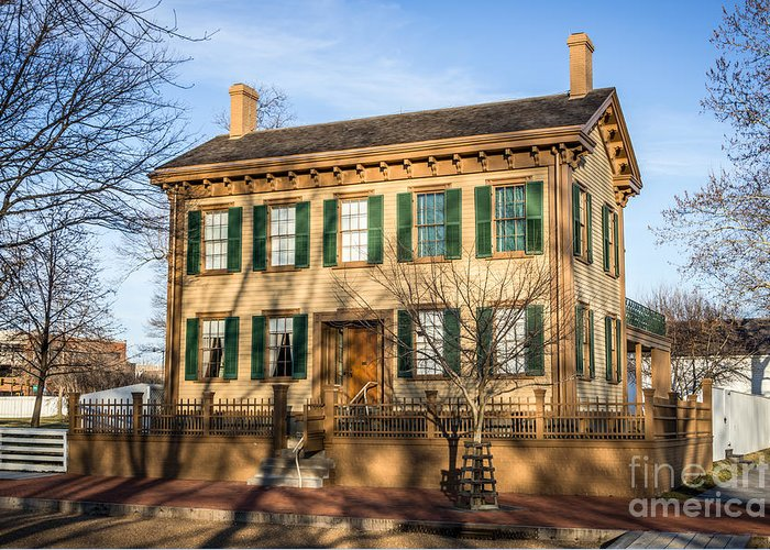 Abraham Greeting Card featuring the photograph Abraham Lincoln Home In Springfield Illinois by Paul Velgos
