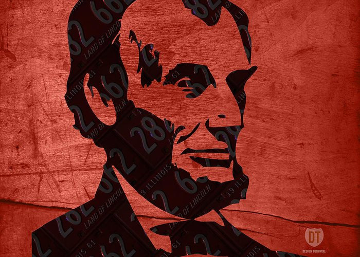 License Plate Map Greeting Card featuring the mixed media Abraham Lincoln License Plate Art by Design Turnpike