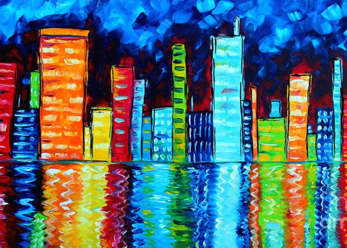 Abstract Greeting Card featuring the painting Abstract Art Landscape City Cityscape Textured Painting City Nights II By Madart by Megan Duncanson