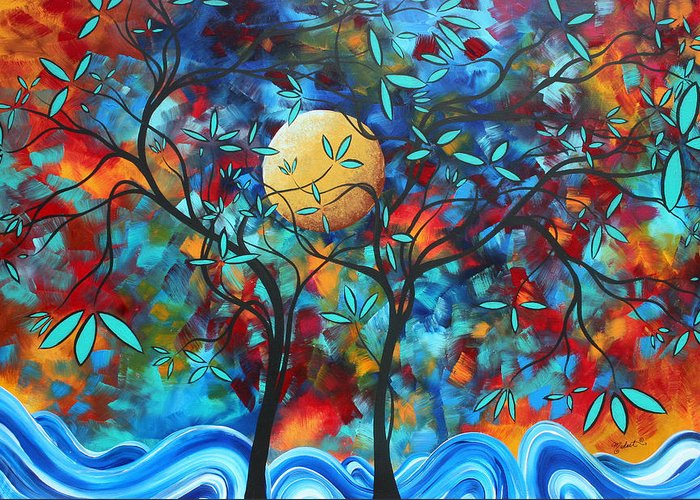 Abstract Greeting Card featuring the painting Abstract Contemporary Colorful Landscape Painting Lovers Moon By Madart by Megan Duncanson