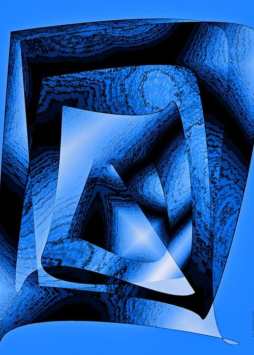 Design Greeting Card featuring the digital art Abstract Design In Blue Contrast by Mario Perez