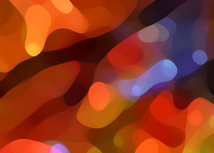 Abstract Art Greeting Card featuring the painting Abstract Fall Light by Amy Vangsgard