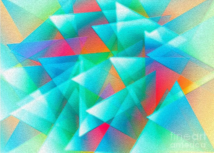 Triangle Greeting Card featuring the digital art Abstract Geometry Of Triangles In Digital Art by Mario Perez