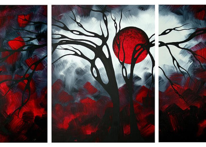 Abstract Greeting Card featuring the painting Abstract Gothic Art Original Landscape Painting Imagine By Madart by Megan Duncanson