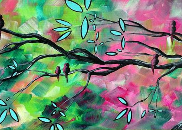 Abstract Greeting Card featuring the painting Abstract Landscape Bird And Blossoms Original Painting Birds Delight By Madart by Megan Duncanson