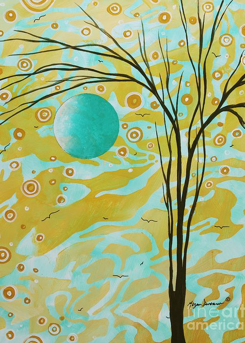Abstract Greeting Card featuring the painting Abstract Landscape Painting Animal Print Pattern Moon And Tree By Madart by Megan Duncanson