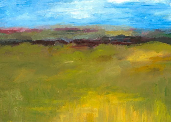 Abstract Expressionism Greeting Card featuring the painting Abstract Landscape - The Highway Series by Michelle Calkins