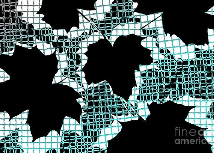 Abstract Greeting Card featuring the photograph Abstract Leaf Pattern - Black White Turquoise by Natalie Kinnear