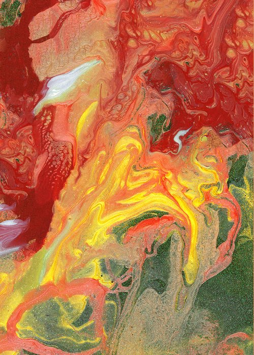 Abstract Greeting Card featuring the photograph Abstract - Nail Polish - In A State Of Flux by Mike Savad