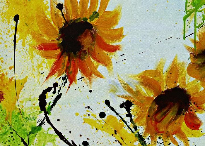Sunflowers Greeting Card featuring the painting Abstract Sunflowers 2 by Ismeta Gruenwald