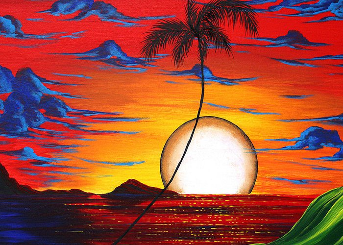 Abstract Greeting Card featuring the painting Abstract Surreal Tropical Coastal Art Original Painting Tropical Resonance By Madart by Megan Duncanson