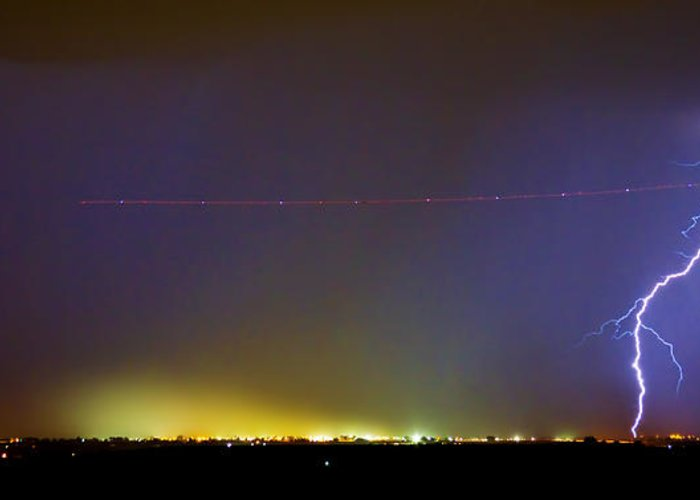 Lightning Greeting Card featuring the photograph Ac Strike Over The City Lights Panorama by James BO Insogna