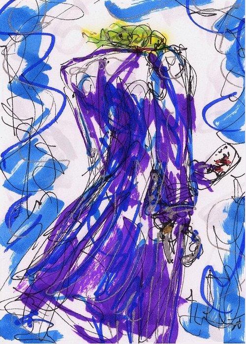 Joker Greeting Card featuring the drawing Aceo Joker V by Rachel Scott