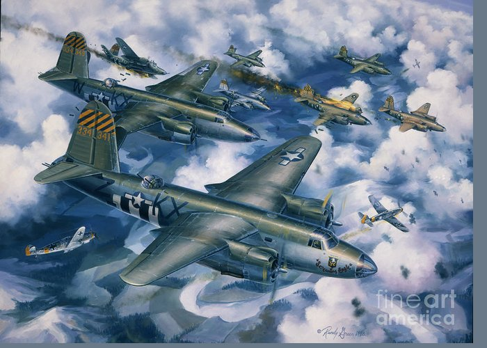 Aviation Art Greeting Card featuring the painting Achtung Zweimots by Randy Green