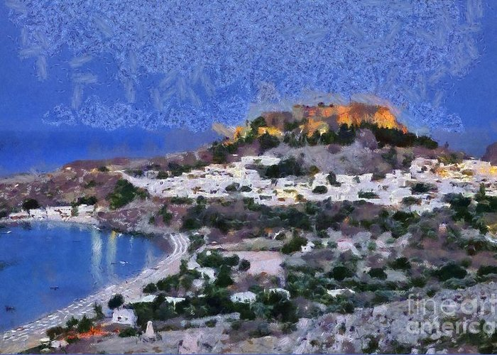 Rhodes Greeting Card featuring the painting Acropolis Village And Beach Of Lindos by George Atsametakis