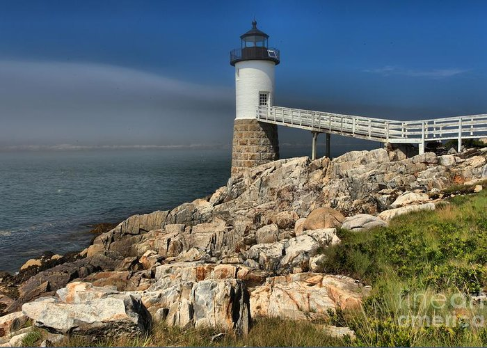 Robinson Point Lighthouse Greeting Card featuring the photograph Across The Seas by Adam Jewell