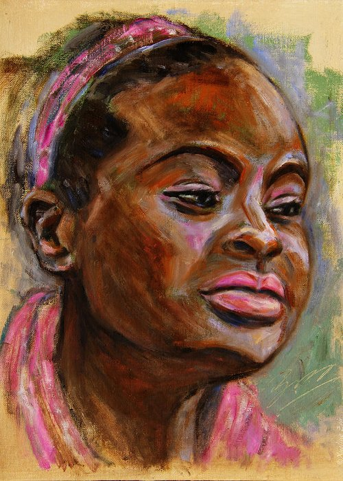Woman Greeting Card featuring the painting African American 3 by Xueling Zou