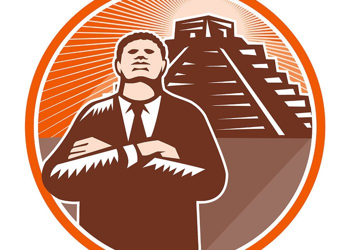 African-american Greeting Card featuring the digital art African American Businessman Protect Pyramid by Aloysius Patrimonio
