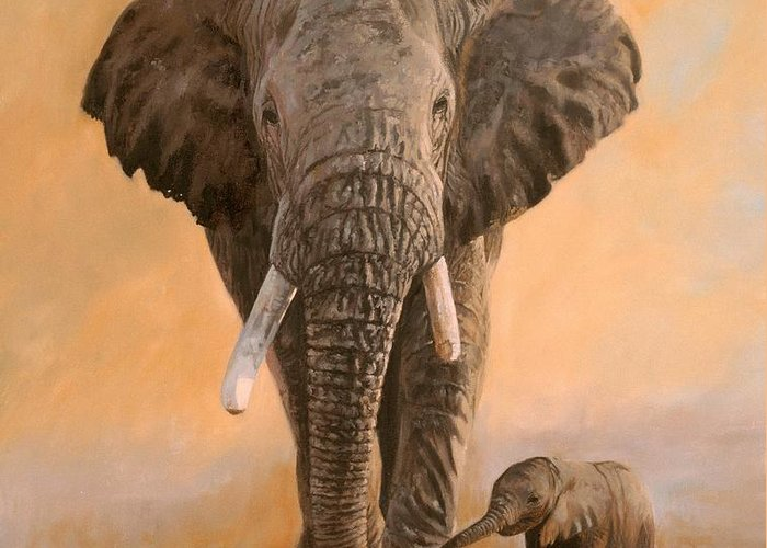 Elephant Greeting Card featuring the painting African Elephants by David Stribbling