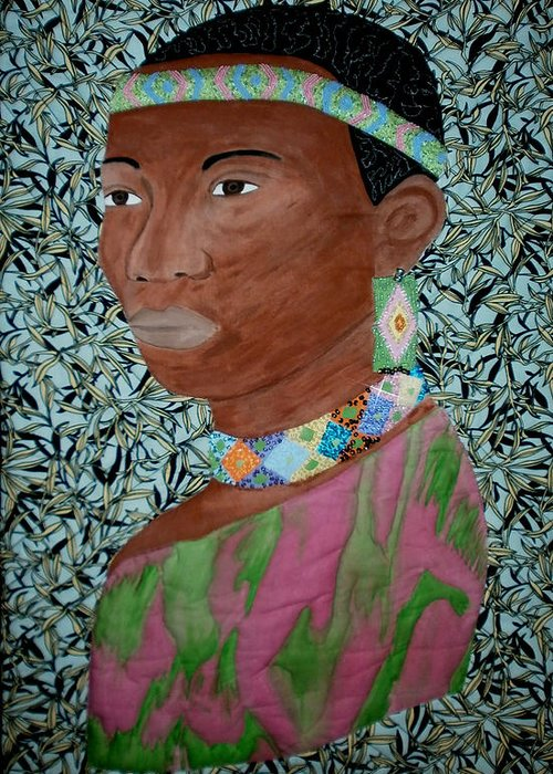 Quilts Greeting Card featuring the painting African Queen by Linda Egland