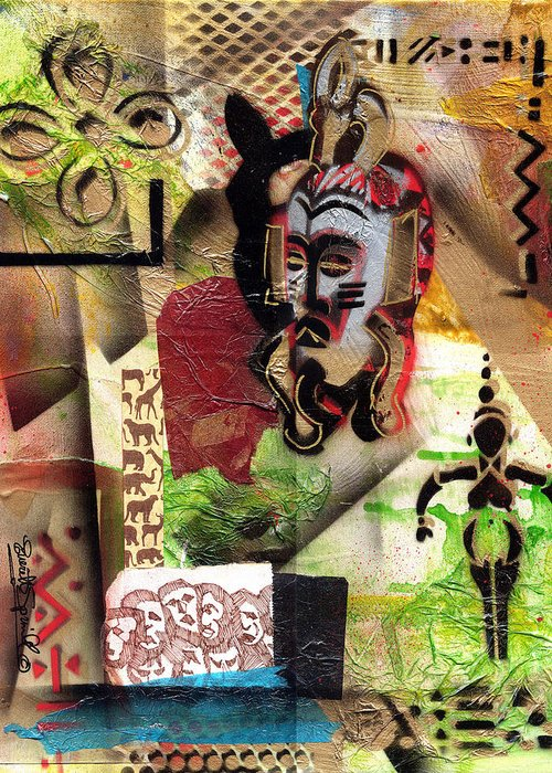 African Mask Greeting Card featuring the painting Afro Aesthetic A by Everett Spruill