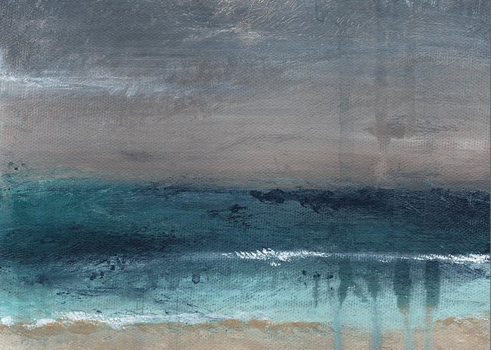 Abstract Landscape Greeting Card featuring the painting After The Storm- Abstract Beach Landscape by Linda Woods