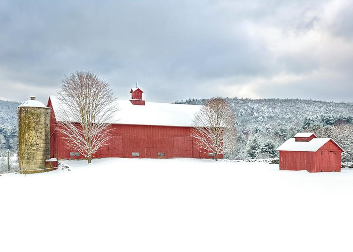 Red Barn Greeting Card featuring the photograph After The Storm by Bill Wakeley