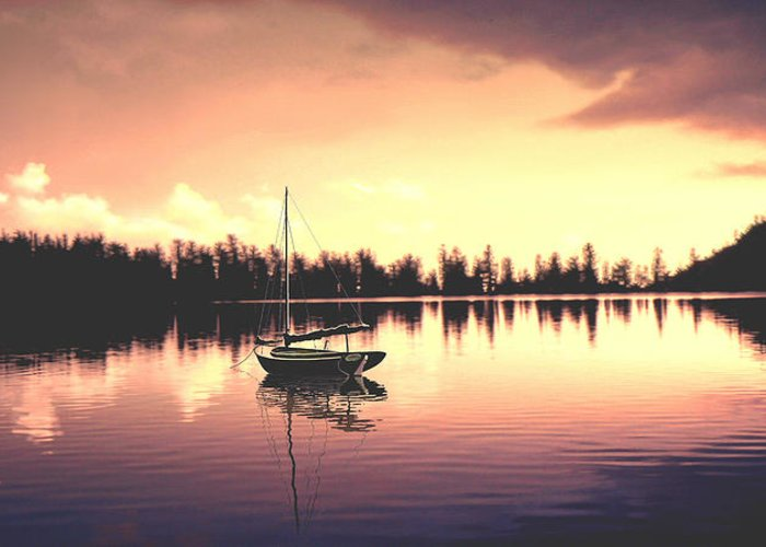 Seascape Greeting Card featuring the photograph Afterglow Sunset On Lake Sailboat Panoramic Picture by John Samsen