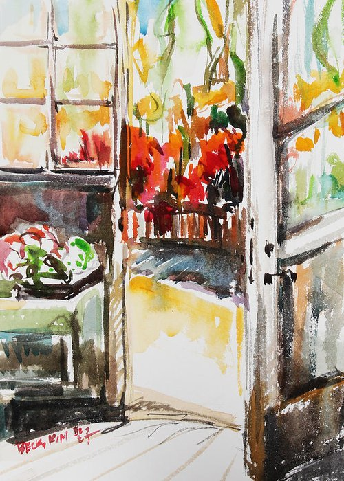Watercolor Greeting Card featuring the painting Afternoon by Becky Kim
