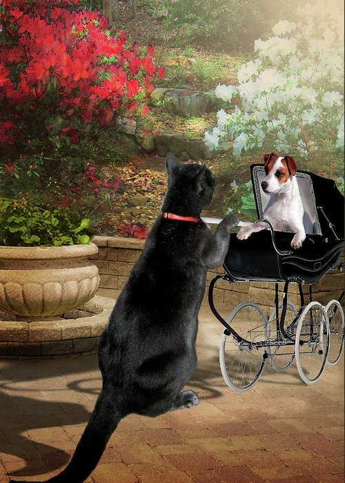 Pet Picture Greeting Card featuring the painting Afternoon Stroll by Regina Femrite