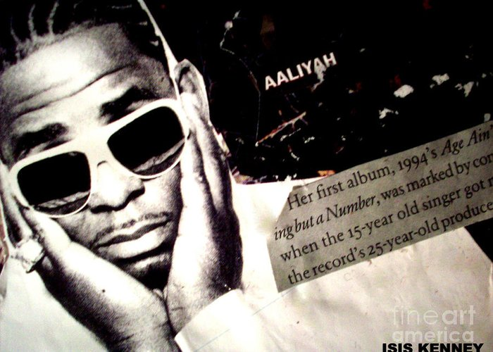Hip Hop Fine Art Isis Kenney R Kelly Aaliyah Dame Dash Greeting Card featuring the mixed media Age Aint Nothing But A Number by Isis Kenney