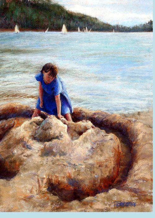 Beach Greeting Card featuring the painting Age Of Innocence by Mary Giacomini
