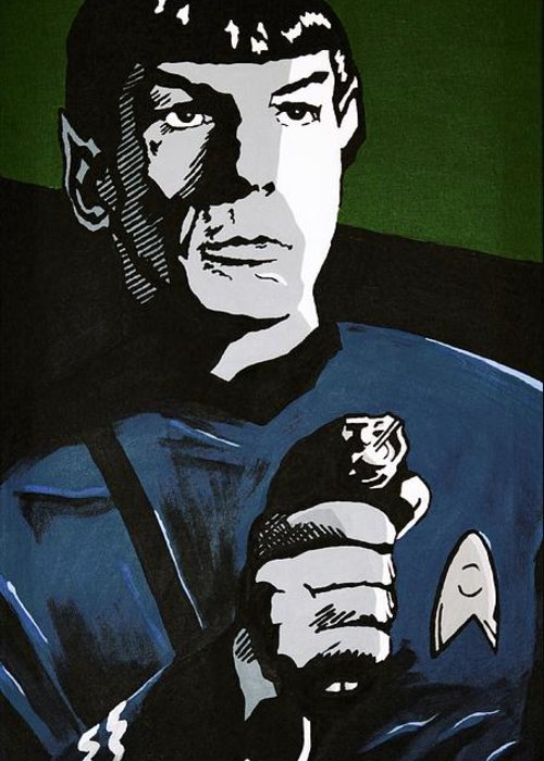 Star Trek Greeting Card featuring the painting Aiming His Phaser by Judith Groeger