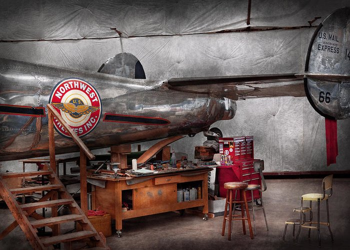 Plane Greeting Card featuring the photograph Airplane - The Repair Hanger by Mike Savad