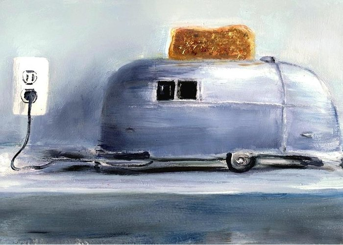Retro Greeting Card featuring the painting Airsteam Toaster by Sunny Avocado
