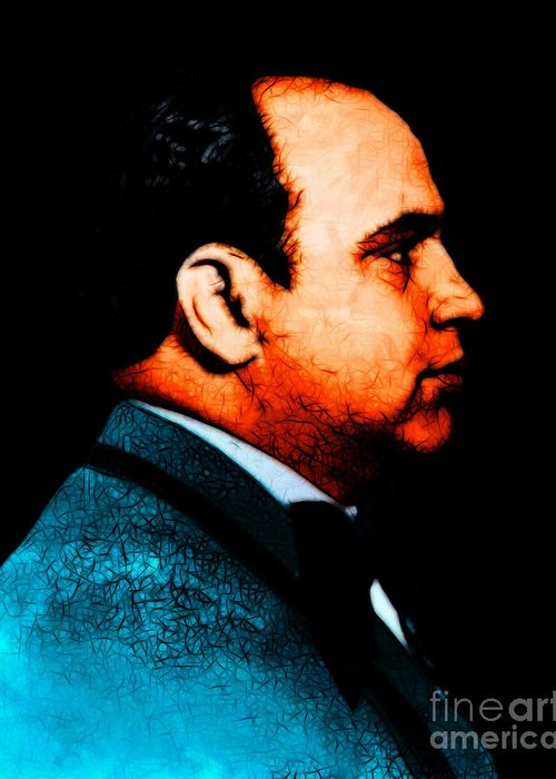 Al Capone Greeting Card featuring the photograph Al Capone C28169 - Black - Painterly by Wingsdomain Art and Photography