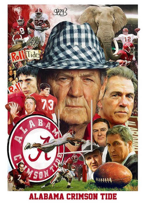 Alabama Football Greeting Card featuring the painting Alabama Crimson Tide by Mark Spears