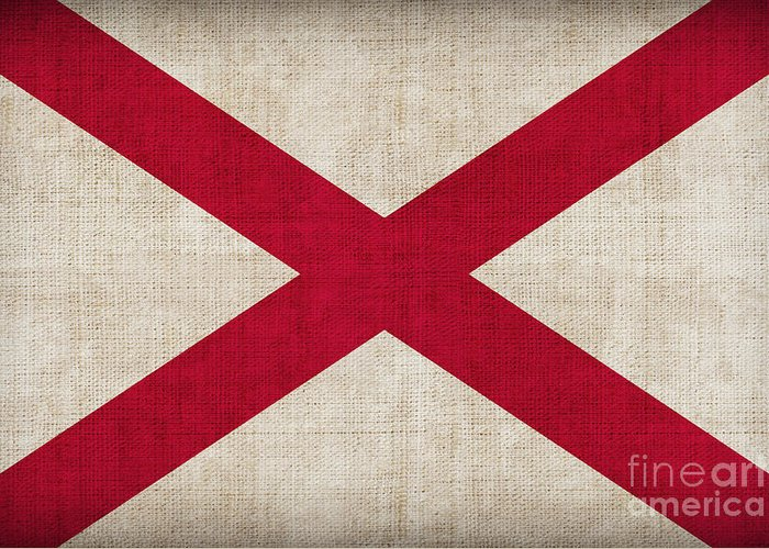 Alabama Greeting Card featuring the painting Alabama State Flag by Pixel Chimp