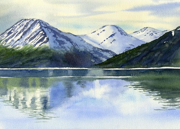 Alaska Greeting Card featuring the painting Alaska Mountain Reflections by Sharon Freeman