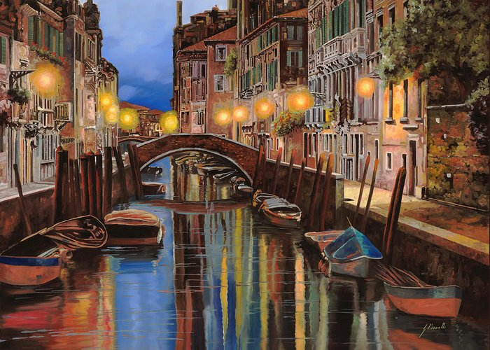 Venice Greeting Card featuring the painting alba a Venezia by Guido Borelli