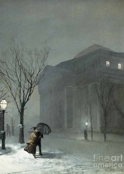 1871 Greeting Card featuring the painting Albany In The Snow by Walter Launt Palmer